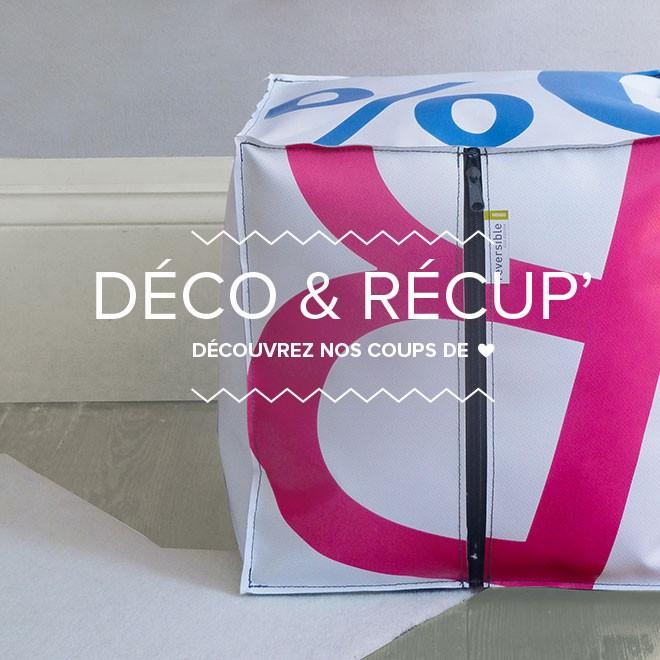 Déco récup' pouf bâche publicitaire recyclée Reversible upcycling