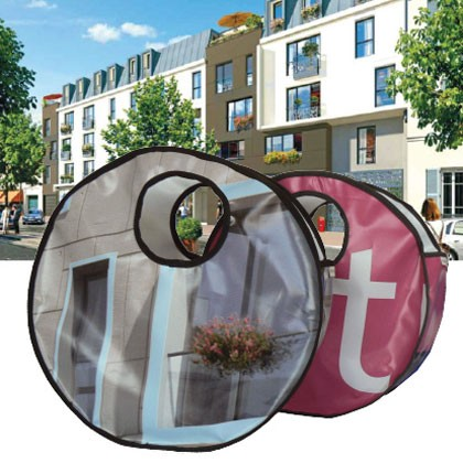 Sac en bâche publicitaire recyclée Cogedim Reversible éco design