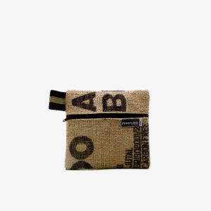 Trousse en toile de jute de cafe reversible recycle