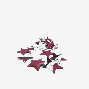 Guirlande étoiles et ronds rouge sombre en bâche publicitaire recyclée.