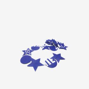 Guirlande étoiles et rond bleus en bâche publicitaire recyclée.