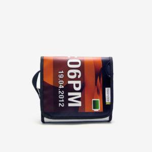 Sac en bâche publicitaire recyclée orange Reversible upcycling