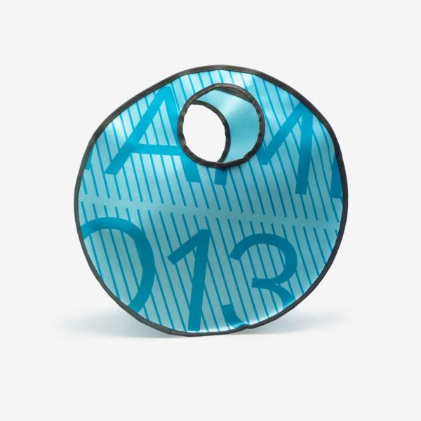 Sac en bâche publicitaire recyclée bleu turquoise