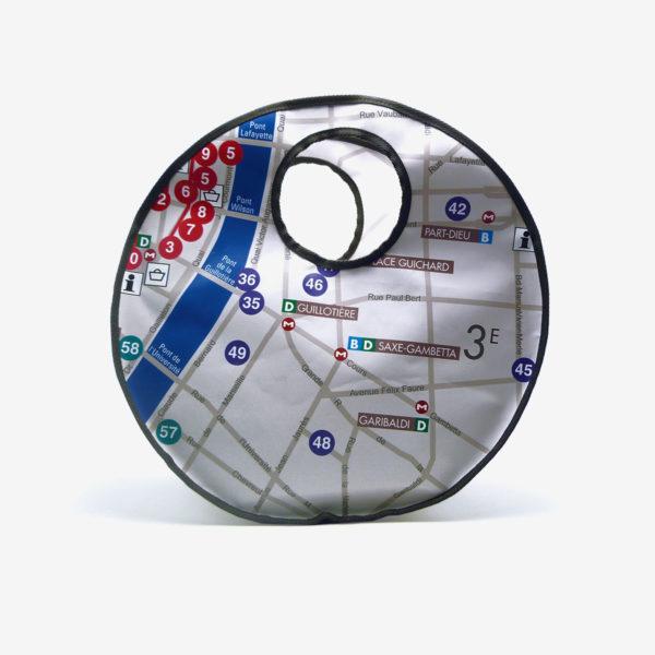 Sac en bâche publicitaire recyclée plan du métro de Lyon