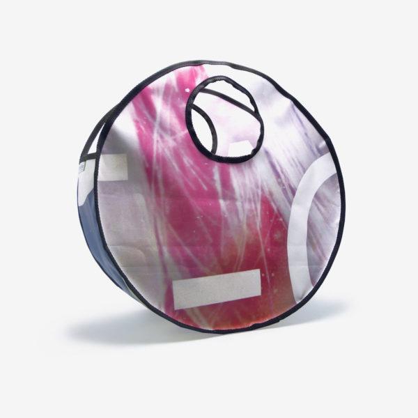 Sac en bâche publicitaire recyclée rose Reversible upcycling dos