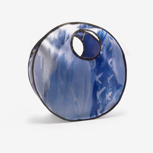 Sac en bâche publicitaire recyclée bleu Reversible upcycling dos