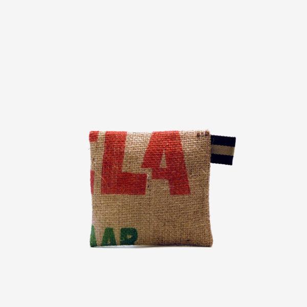 Trousse en toile de jute de cafe reversible recycle