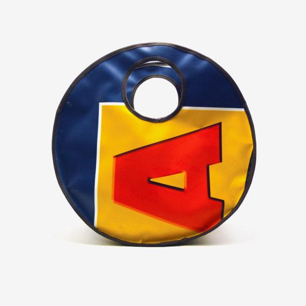 Sac en bâche publicitaire recyclée jaune et bleu Reversible upcycling