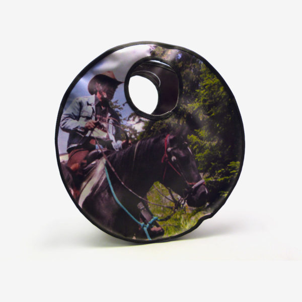 Sac en bâche publicitaire recyclée cheval Equita Reversible upcycling dos