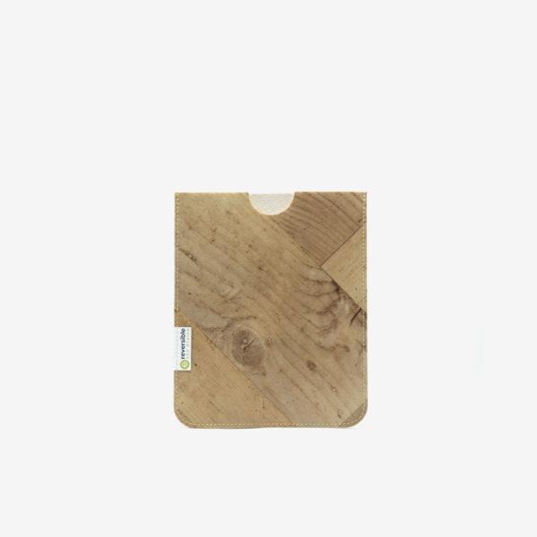 Housse ipad en sol vinyle recyclé bois blanc.