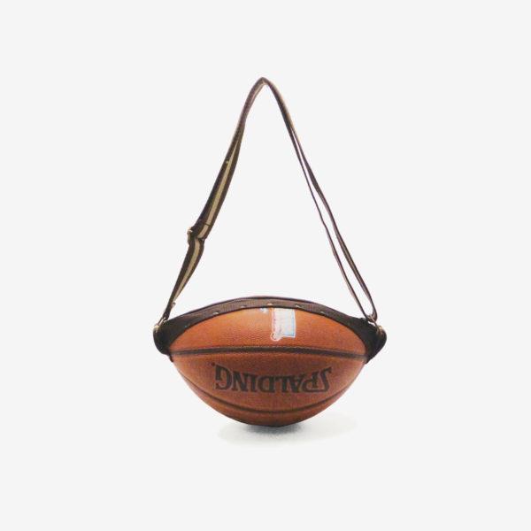 Sac en ballon de basket recyclé orange spalding en cuir