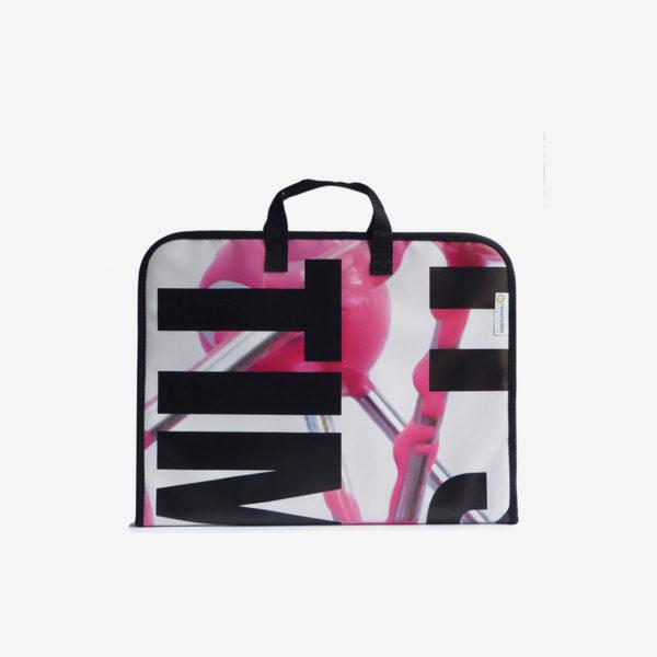 housse ordinateur, sac en bâche publicitaire graphique noir et rose