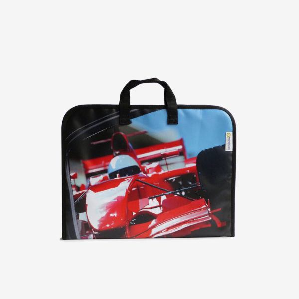housse ordinateur, sac en bâche publicitaire voiture course rouge