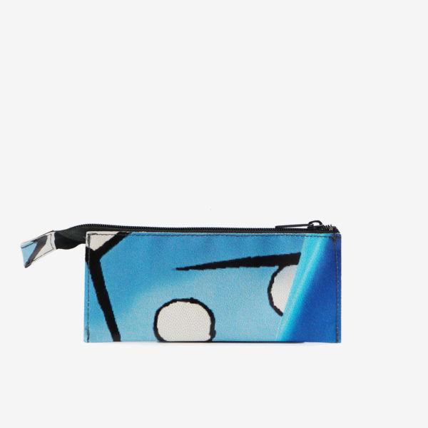 trousse ecolier en bache recyclee bleue reversible upcycling
