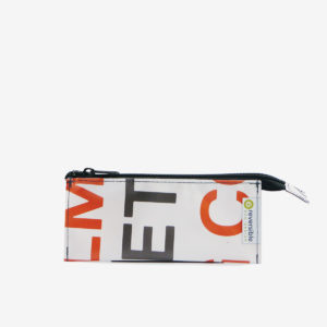 trousse ecolier en bache recyclee blanche reversible upcycling
