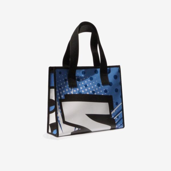 cabas bleu en bache publicitaire recycle reversible eco design