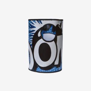 corbeille en bâche publicitaire recyclée bleue esprit BD
