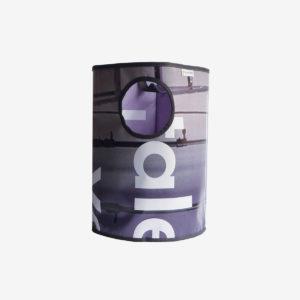 corbeille gris violine en bâche publicitaire recyclée