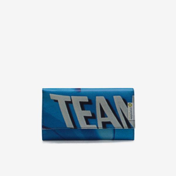 Titre portefeuille bache publicitaire bleue typo blanche