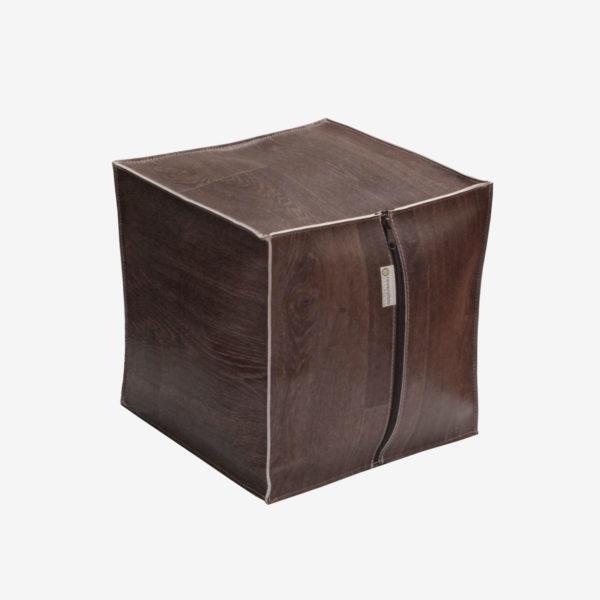 pouf sol vinyle coloris chocolat.