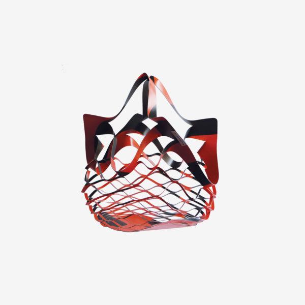sac filet rouge en bâche publicitaire recyclée reversible eco design