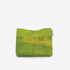 trousse verte en textile publicitaire reversible eco-design