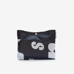 trousse noire en textile publicitaire reversible eco-design