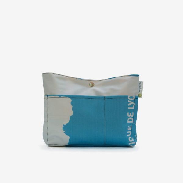 trousse en textile publicitaire bleue reversible eco-design