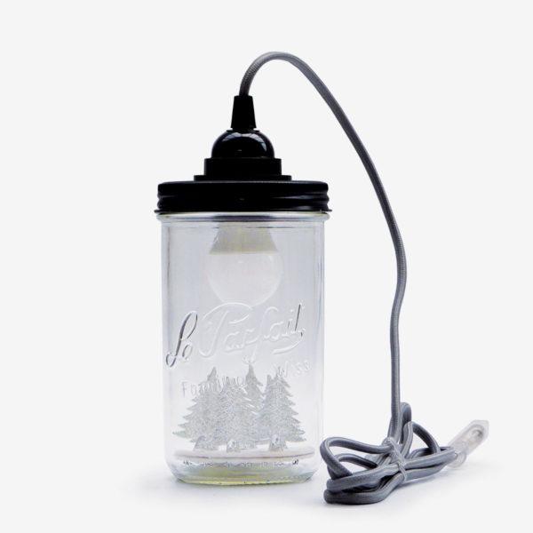 lampe bocal recycle le parfait fil gris couvercle noir