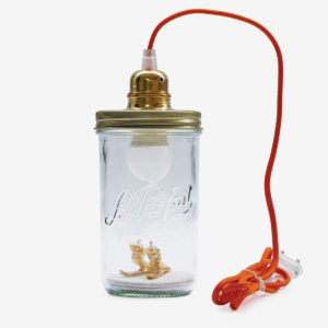 lampe bocal recycle le parfait avec skieurs reversible upcycling
