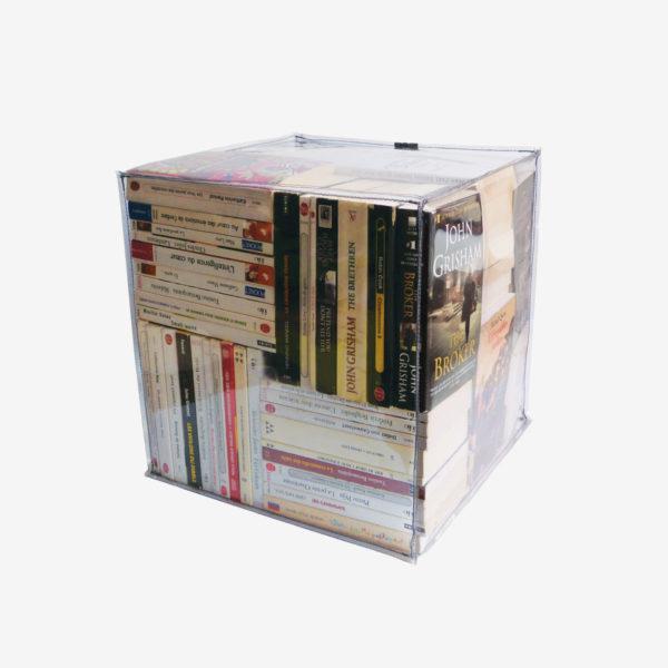 pouf transparent rempli de livres reversible eco design