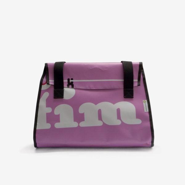 Sac en bâche publicitaire recyclée rose.