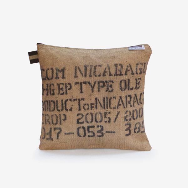 coussin en sac de café du Nicaragua.