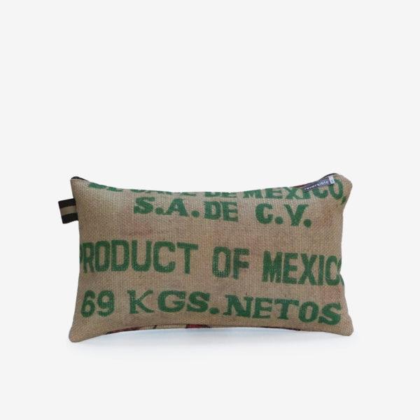 coussin en sac de transport de café de mexico.
