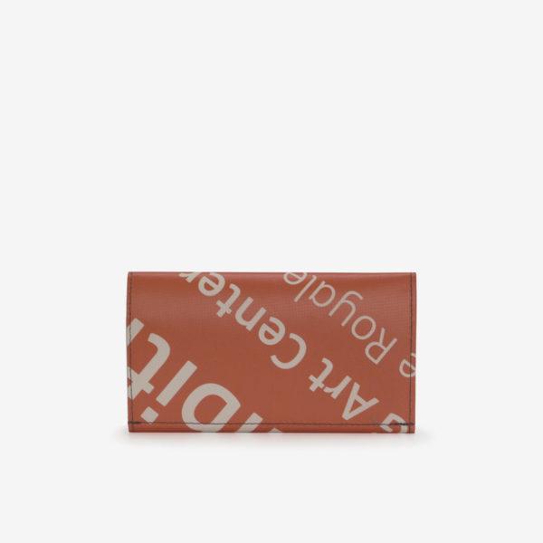 portefeuille en bâche publicitaire orange reversible dos