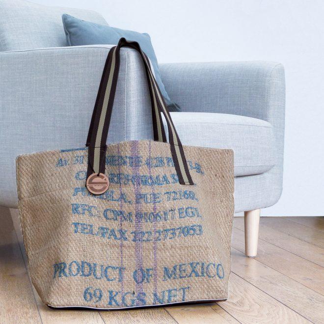 sac cabas toile cafe reversible eco design