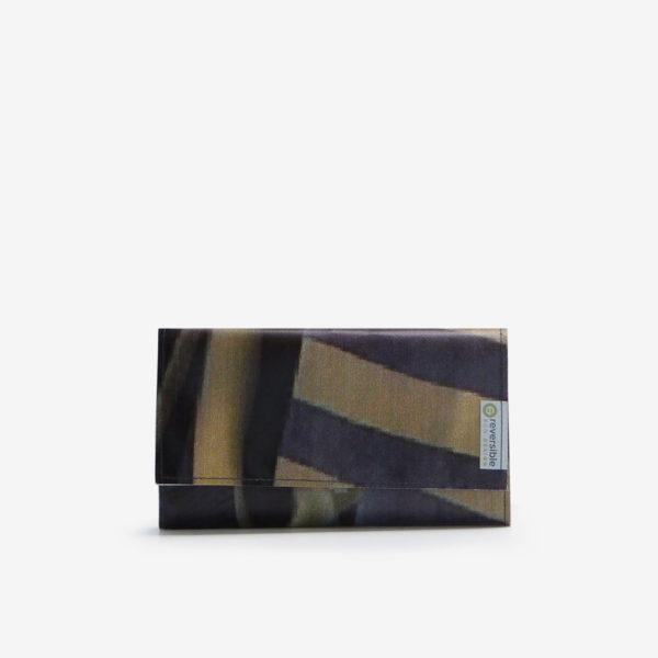 portefeuille rayé en bache-publicitaire reversible eco design