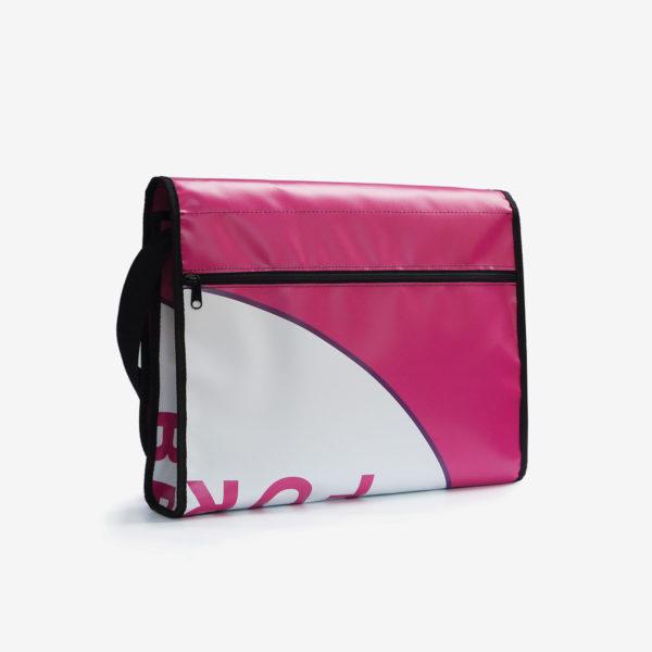 dos sacoche en bache rose reversible eco design