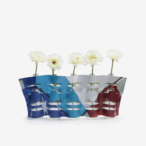 vase bleu blanc rouge en bäche publicitaire recyclée