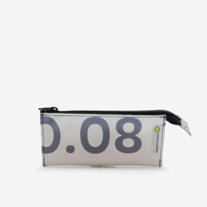 Trousse écolier blanche typo grise en bâche publicitaire recyclée.
