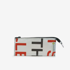trousse ecolier blanche en bache recyclee reversible upcycling