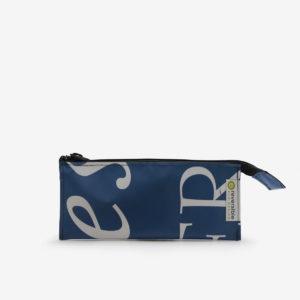 trousse ecolier bleu roi en bache recyclee reversible upcycling
