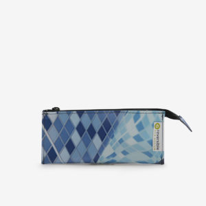 trousse ecolier bleue en bache recyclee reversible upcycling