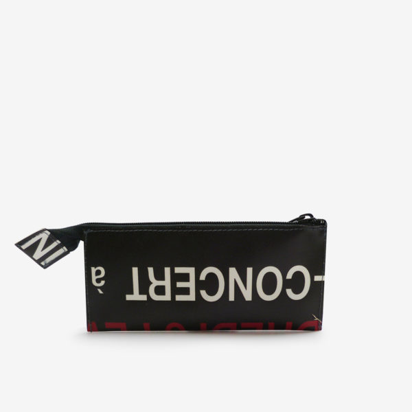 trousse ecolier typo dos en bache recyclee reversible upcycling