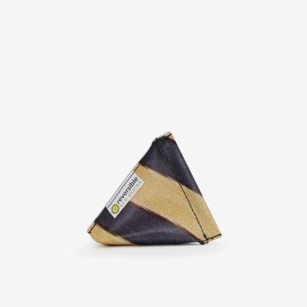 Porte-monnaie noir rayures jaunes en bâche publicitaire recyclée.