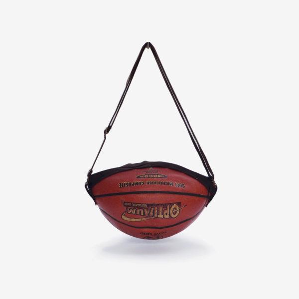 Sac en ballon de basket recyclé en cuir orange