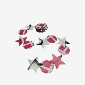 Guirlande étoiles et ronds roses en bâche publicitaire recyclée.