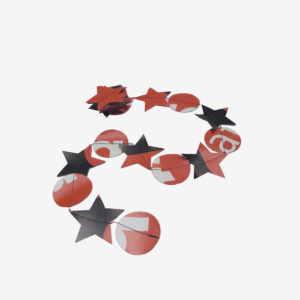 guirlande rouge en bâche publicitaire recyclée