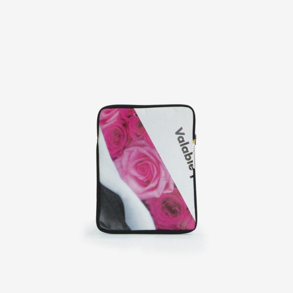 Housse ipad en bâche publicitaire recyclée avec rose