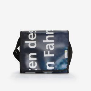 Sac besace bleu sombre en bâche publicitaire